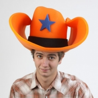 Orange 50 Gallon Foam Cowboy Hats