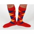 Argyle Socks - Red/Gold/Blue