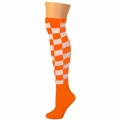 Checkered Knee Socks - Neon Orange/White