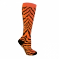 Zebra Socks - Neon Orange with Black